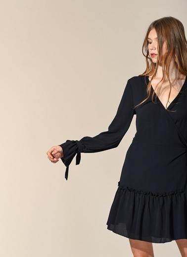 Agenda Anvelop Büzgü Detaylı Elbise Siyah